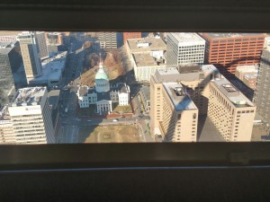 View from inside the Observation Deck in the Arch.